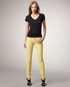 Skinny Bright Yellow Shimmer Cropped Jeans by 7 For All Mankind at Neiman Marcus. ARE THESE WHAT YOU WANT CHLOE?