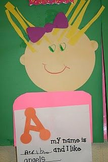 """During our """"All About Me"""" unit we made these cute little people.  We used the first letter in our name and had to think of something that had the same beginning sound as our own name.  This activity spins off the book, """"A My Name is Alice""""."""