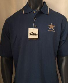 Tri-Mountain Men's Polo T-Shirt Cotton Polly Stripe Collar Blue Size Large L #TriMountain #Polo #Casual