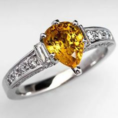 Pear Cut Yellow Sapphire Engagement Ring 18K White Gold