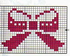 Apaixonada por Ponto Cruz: Gráficos Laços Knitting Charts, Knitting Stitches, Knitting Patterns Free, Cross Stitch Designs, Cross Stitch Patterns, Cross Stitching, Cross Stitch Embroidery, Graph Paper Art, Cross Stitch For Kids