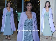 For her appearance on a television show, Sonam picked separates by an Australian designer, Toni Maticevski. Pairing the high-waisted skirt with a matching bustier gave an illusion of a full-skirted midi dress while the lilac silk jacket, also by the designer paired well with the graphic separates. Ankle-strap sandals, understated jewelry and partially pinned back wavy hair finished out the look.