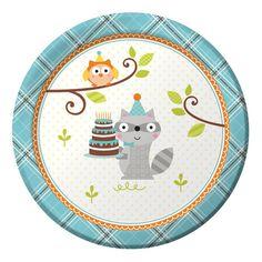 Happi Woodland Boy 7 inch Round Lunch Plates/Case of 96