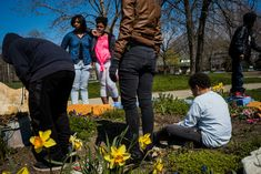 Alex Webb 2016 Cleveland. Cudell Recreation Center. Friends and family at memorial for Tamir Rice