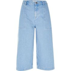 River Island Blue denim culottes (740 ARS) ❤ liked on Polyvore featuring pants, capris, blue, trousers, high-waisted trousers, wide leg denim trousers, high rise pants, high-waisted wide leg pants and crop pants