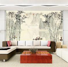 Papier peint chinois - Paysage avec les bambous en noir et blanc