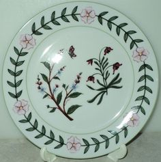 BOTANICAL PLATE I Godinger Co Botanical Floral Insect White Salad Plate
