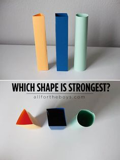 Learn about the power of shapes (you'll never believe what you can build with triangles!) Discover which shape is strongest? via Buggy and Buddy #STEM #DIY