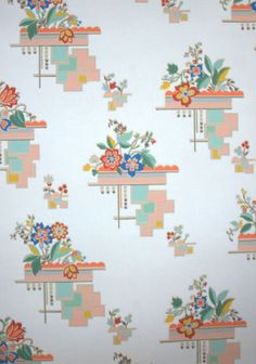 Vintage Wallpaper Cute Kitchen geometric and flowers Retro Wallpaper, Wall Wallpaper, Vintage Floral Wallpapers, Vintage Decor, Vintage Linen, Vintage Ads, Retro Fabric, Vintage Kitchenware, Historical Art