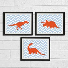 Dinosaur Nursery Chevron Art Prints - Sky Blue and Calm Red - Children Room Home Decor set of 3 8x10.