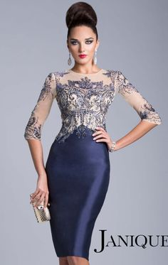 Embellished Short Sheath Dress by Janique 1502 by Janique (2014) PRICE $658.00  WWWBRIDALDREAMSMALL.COM SIZE -4-18 IN STORE SIZE 8-10-12