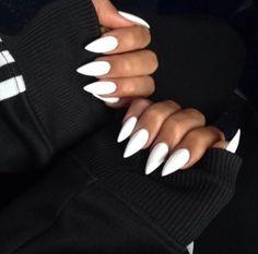 basic white oval nails