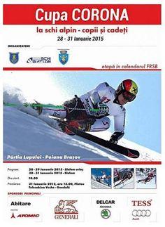 Cupa Corona la Schi Alpin, este organizată de Clubul ASC Corona Brasov, în colaborare cu Primăria Municipiului Braşov. Competiţia se va desfăşura pe pârtia LUPULUI - telescaunul de sus, vor avea loc probele copiilor şi cadeţilor. Aceste probe sunt incluse în calendarul FRSB şi vor începe la orele 10.00. Festivitatea de premiere va avea loc pe 29 ianuarie a.c., de la ora 15:00, pe Platoul Telecabina Veche – Gondolă. Se vor acorda diplome, cupe, medalii, premii în bani şi articole sportive. Calendar, Life Planner, Menu Calendar