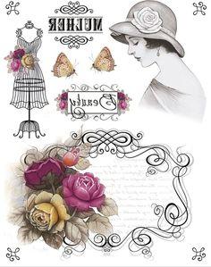 Decoupage Vintage, Shabby Vintage, Vintage Dolls, Vintage Flowers, Shabby Chic, Images Vintage, Vintage Pictures, Vintage Labels, Vintage Ephemera