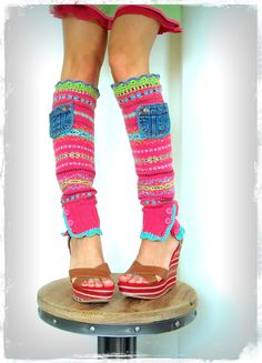 ~ One of a kind pair of wool LEG WARMERS in HOT CANDY colors ~ ~ by GPyoga ~ Its like having a beach time on chilly WINTER days! ;-D Size SMALL up