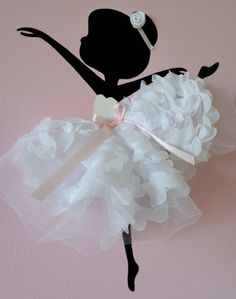 Set of three pink and white handmade canvases with Dancing Ballerinas in tutus. Each canvas is 8 X 10. The background and ballerinas are painted with acrylic paint. Dancers are decorated with tulle dresses, silk ribbons, and silk rozes.  Cute gift idea for baby shower or any ballerina lover.