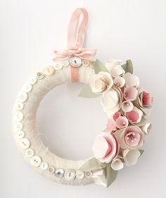 paper flowers on a Simply Stunning Styrofoam Wreath