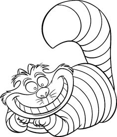 Alice in Wonderland, : Alice in Wonderland Character Cheshire Cat Coloring Page