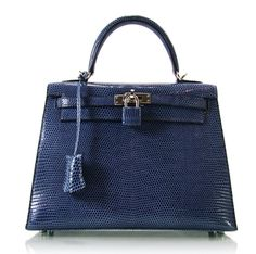 HERMES LIZARD SKIN KELLY 25 HandBag Bag Blue Brighton