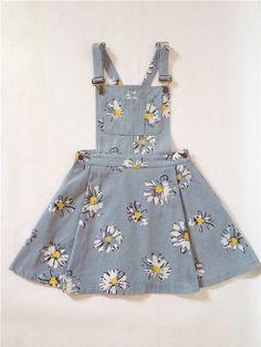 Dress: sunflower, daises, overalls, denim overall dress, skirt . Cute Fashion, Vintage Fashion, Fashion Outfits, Womens Fashion, Fashion Spring, Fashion Kids, Fashion Clothes, Dress Fashion, Trendy Fashion