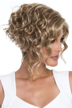 "Wig features: Open Top As if the asymmetric, angled styling didn't add enough drama to this fashion-forward bob, Kelsey's long, lustrous curls make this wig a true show stopper. As part of our Open Top collection, you can be sure Kelsey offers the maximum in stylish and versatile comfort. Length: Front 11"", Crown 8.25"""