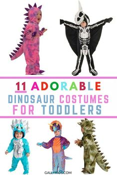 The cutest dinosaur children costumes. These are not just for toddlers. There's lots of costumes that are made for older kids too. Whatever color you want: green, pink, orange or black dinosaur, you'll find it here. Groot Costume For Kids, Toddler Dinosaur Halloween Costume, Cute Toddler Costumes, Warm Halloween Costumes, Best Kids Costumes, Dino Costume, Toddler Girl Halloween, Kids Costumes Boys, Boy Costumes