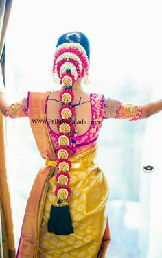 Pellipoolajada branches, all over AP/ Telangana/ Tamilnadu/ Karnataka/ Trivandrum / Mumbai/ Delhi /Singapore/ Australia and USA Order atleast 2 weeks in advance South Indian Wedding Hairstyles, Bridal Hairstyle Indian Wedding, Indian Hairstyles, Wedding Updo, Bridal Braids, Bridal Hairdo, Bridal Photoshoot, Saree Hairstyles, Bride Hairstyles