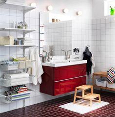 Modern Bathroom with IKEA Bathroom Vanities : Modern Style Of Bathroom Makeup Vanity Ideas From Ikea Bathroom Red, Fun Bathroom Decor, Beautiful Bathroom Vanity, Bathroom Solutions, Glamorous Bathroom, Bathroom Cabinets Ikea, Bathroom With Makeup Vanity, Ikea, Bathroom Design