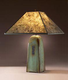 Mica Shade Celadon Green Table Lamp