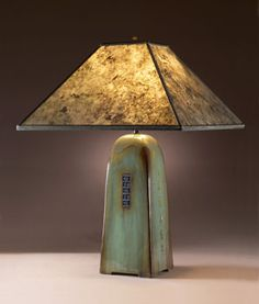 Mica Shade Celadon Green Table Lamp