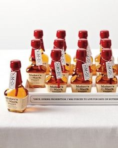 A party favor for the men. Whether you're planning a Kentucky wedding or a Kentucky Derby party, thank guests with mini bottles of Maker's Mark, which is distilled 55 miles south of Louisville in Loretta, Kentucky. Derby Time, Derby Day, Derby Dinner, Kentucky Derby Food, Kentucky Derby Party Ideas, Bourbon Kentucky, Run For The Roses, My Bridal Shower, Party Favors