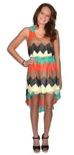Chevron High-Low Dress