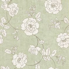 62-65840 Light Green Outline Rose - Madelaine - Kenneth James Wallpaper
