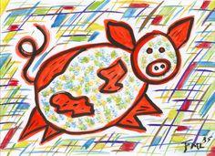 nr.2 uit de serie 12 - van de vrolijke varkens - verkocht