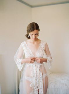 Love so much... Gorgeous white lace bridal robe.