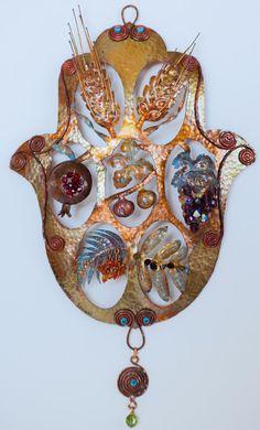 Items similar to Ahuva Elany Seven Species Wall Chamsa on Etsy Fatima Hand, Jewish Crafts, Jewish Art, Hamsa Art, Pomegranate Art, Mala Meditation, Arabesque, Evil Eye, Beadwork