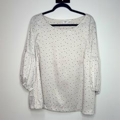 Cato Tops | Nwt Cato Plus Size Polka Dot Top With Puff Sleeves | Poshmark Polka Dot Top, Plus Size, Puff Sleeves, Outfits, Cream, Detail, Things To Sell, Black, Simple