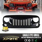 Xprite Eagle Eye Black Front Grill W/Built-In Steel Mesh for 07-17 Jeep Wrangler