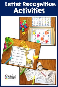 Letter Recognition activities on Cookie Sheets and in Rice Boxes are a fun and engaging way for preschool and kindergarten to recognize and identify ABCs / letters! #kindergarten #firstgrade #elementary #literacycenters #conversationsinliteracy kindergarten, 1st grade #preschool preschool