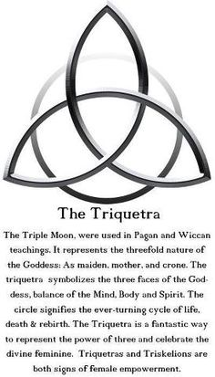 The Triquetra: The Triple Moon is used in Pagan and Wiccan teachings. It represents the threefold nature of the Goddess: As maiden, mother and crone. The Triquetra symbolizes the three faces of the Goddess, balance of the Mind, Body and Spirit. The circle Tarot, Book Of Shadows, Spelling, Chakra, Body Art, Mindfulness, Life, Summer Safety, Summer Outfits