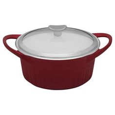 #CorningWare® French White® Cast Aluminum™ 3.5 Quart Tomato (Red) Round Dutch Oven W/ Glass Cover - You can keep your eye on what's cooking, thanks to the clear glass lid on this CorningWare® French White Dutch oven. And your guests certainly will be eyeing this handsome piece on your table. The Dutch oven is sturdy yet lightweight, making it easy to carry from the kitchen to the table. BUY now at www.shopworldkitchen.com