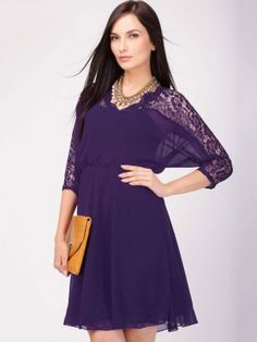 THE VANCA Skater Dress With Lace Panelling on koovs.com