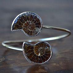 LUX Divine Ammonite Wrap Gemstone Bracelet /// Silver via Etsy