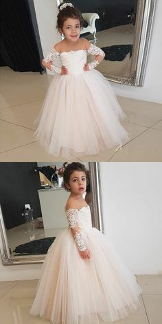 A-Line Round Neck Long Sleeves Pearl Pink Flower Girl Dress with Lace, cute pearl pink ball gown flower girl dresses with sleeves, lovely long sleeves little girl dresses #cutedress Flower Girls, Pink Flower Girl Dresses, Little Girl Dresses, Girls Dresses, Dress Flower, Long Prom Gowns, Homecoming Dresses, Bridesmaid Dresses, Pageant Dresses