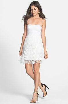En Crème Strapless Fringe Dress (Juniors) available at #Nordstrom