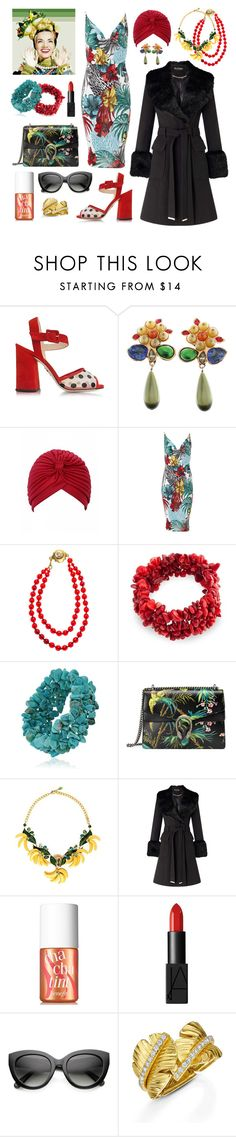 """""""Undercover Carmen Miranda"""" by inspiredsara ❤ liked on Polyvore featuring TEM, Charlotte Olympia, Chanel, Bling Jewelry, Gucci, Dolce&Gabbana, Miss Selfridge, Benefit, NARS Cosmetics and ZeroUV"""