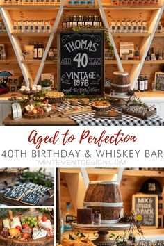 Aged to Perfection Birthday Party & Whiskey Bar from Mint Event Design I love living in Austin, it gives me the opportunity to collaborate with so many creative people, and business owners, and this Whiskey themed party was… 40th Birthday Themes, Vintage Birthday Parties, 40th Birthday Parties, Mens 40th Birthday Ideas, Birthday Design, Birthday Crafts, Birthday Images, Birthday Quotes, Husband Birthday