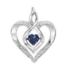 VIBRATING CENTER!  Rhythm of Love Birthstone Heart Pendant in Sterling Silver with Diamond Accents (chain included).  Vibrating heart-shaped birthstone in center is powered by your heartbeat!  Choose from 12 created birthstone styles. Rhodium plated to prevent tarnishing.  Shown: September Birthstone (created sapphire), Ref# GEM-ROL1165S.  Goldex Fine Jewelry ~ (323) 726-7181.