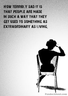 Life is indeed extraordinary ... we spend so much time in our own heads we seem to forget this ...