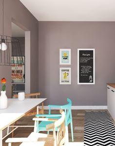wohnung im skandinavischen stil kchentisch in weiss und sthle in trkis im - Stil Wohnung